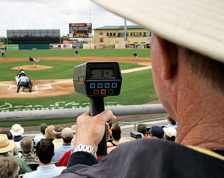 """** FILE ** In this Tuesday, March 20, 2007 file photo, Tampa Bay Devil Rays scout Mike Cubbage uses a radar gun to read the speed of a pitch during a spring training baseball game in Jupiter, Fla. A reader-submitted question about using radar guns to determine the speed of a pitched baseball is being answered as part of an Associated Press Q&A column called """"Ask AP""""  (AP Photo/Charlie Riedel)"""